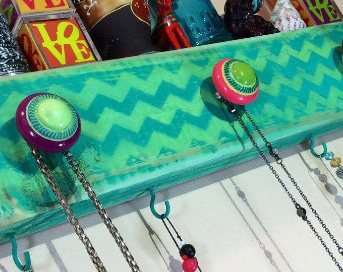 Necklace holder reclaimed wood decor/ wall hooks/ hanging organizer /jewelry storage /scarf hanger distressed teal chevron 4 hooks 3 knobs