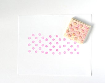 Circles pattern rubber stamps, hand carved rubber stamp, circles, polka dots