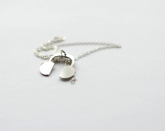 Funny Headphone necklace. Sterling silver chain!