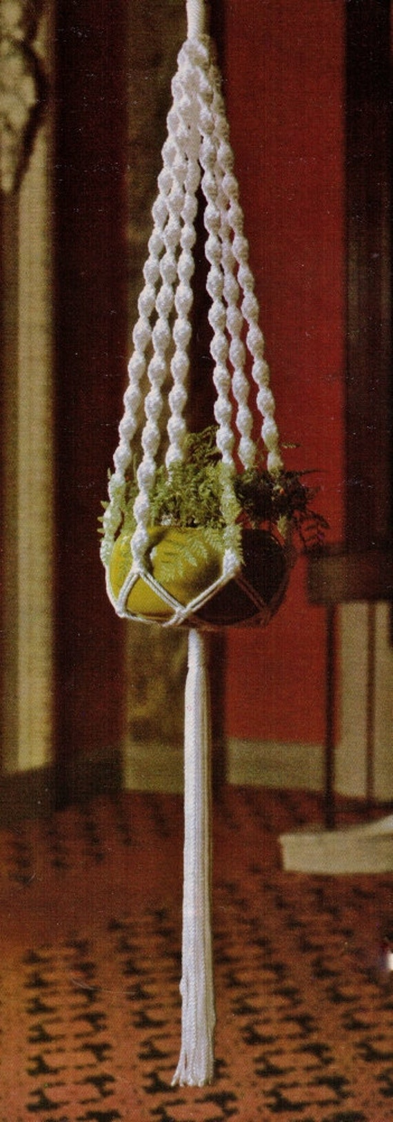 macrame plant hanger pattern pdf vintage 1970s macrame hanging pot plant by crafting4ever2013 8243