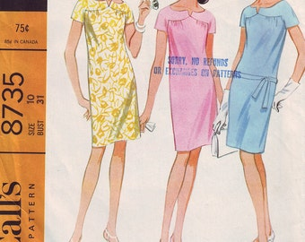 1967 Misses and Junior Dress McCall's 8735 Sz 10 Bust 31