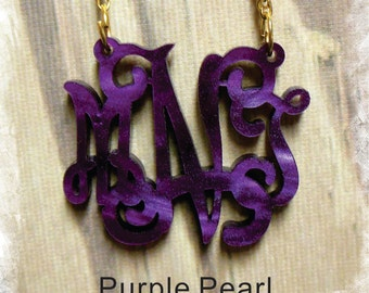 Purple Pearl Acrylic Monogram Necklace - Vine Monogram 3 Initial Name , Laser cut Acrylic monogram Jewelry - wedding gift