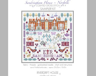 CROSS STITCH KIT Sandringham Sampler by Riverdrift House