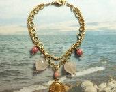 Bracelet - Sea of Galilee Mary Magdalene Charm - Rose Quartz, Czech Glass, 18K Gold Vermeil