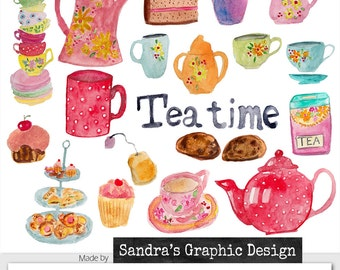 """Clipart: """"TEA TIME""""  hand painted watercolor high tea images with cups, cakes and cookies, 36 clipart 300 dpi PNG  files (5156)"""
