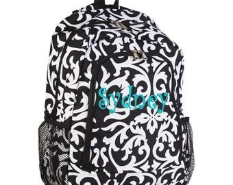 Personalized Monogrammed Backpack Damask Pattern Black and White Girls Children Kids Teens School
