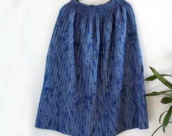 Vintage Women's Blue Pleated Stretchy High Waist Skirt
