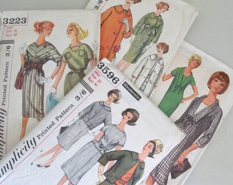 Four True Vintage 1960s Simplicity Sewing Dressmaking