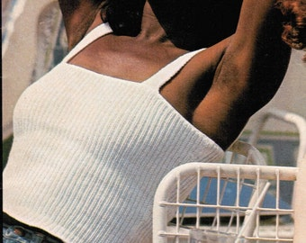 Women's Knitted Skinny Ribbed Tank Top Knitting Pattern PDF / Tank Top Knitting Pattern / 1970's Ribbed Tank Top