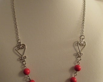 2848- Necklace, Red Coral Pearls