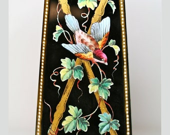 Antique Black Enameled Glass Vase