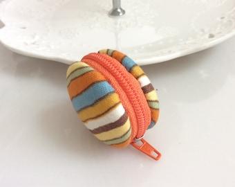 Macaroon keychain / Macaron keychain/ Macaron coin purse / Macaroon coin purse (orange stripes)