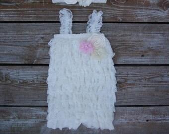 Lace baby romper set. Girls first birthday outfit.  Baby lace romper. Toddler romper. Romper set. Petti romper set.1st birthday outfit.