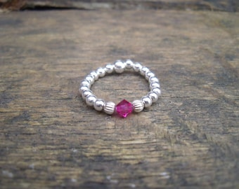 925 Sterling Silver Elasticated Ring with Fusia Swarovski Crystal