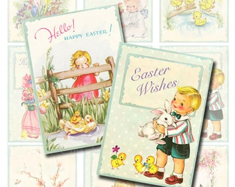 Vintage inspired Easter Greeting Card Tags, ATC Digital Collage Sheet, Printable Page Instant Download