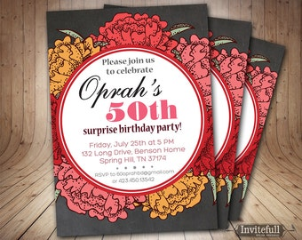 Chalkboard 50th Birthday Invitation, Adult Birthday Invitation, Woman & Ladies Birthday Invitation, 60th 40th 40th Birthday Invitation