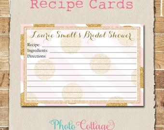 Recipe Cards, Bridal Shower Recipe Card, Glitter Gold Kitchen, Pink & Gold Recipes, Recipe Card, RC105