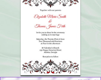 Diy Printable Invitation Templates Red Black And White Wedding
