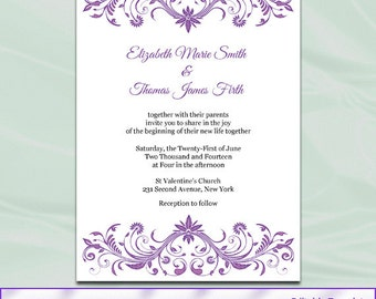 lilac wedding invitation template diy purple silver gray, wedding cards