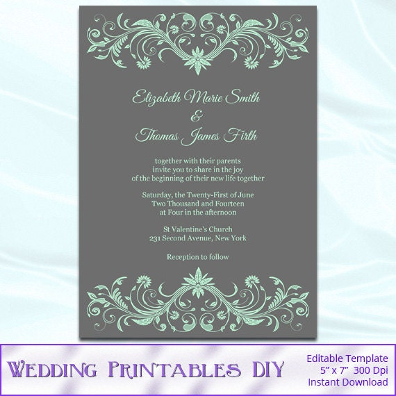 DIY Mint Green and Gray Wedding Invitations Templates - Printable Ornament Invites - Editable Text - Instant Download Pdf Word .doc P29