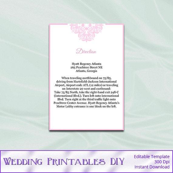 Wedding Enclosure Cards Template Diy Blush By WeddingPrintablesDiy