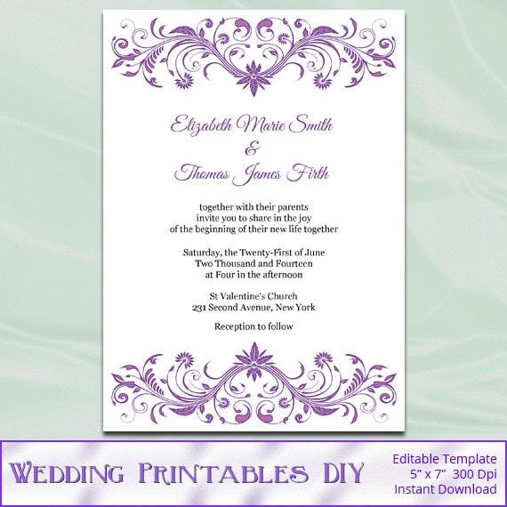Diy Wedding Invitations Templates: Wisteria Wedding Invitation Template Diy Lavender Purple