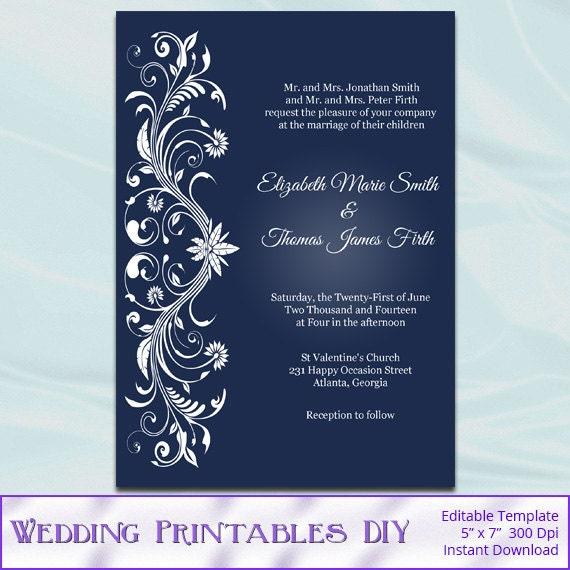 Printable invitation templates diy navy blue and white for Diy wedding invitations vs professional