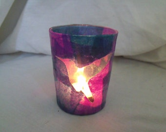 Glass Candle Holder - Hummingbird, Made to Order, Purple and Blue