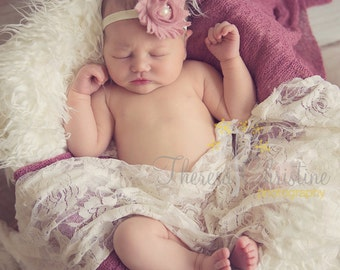 Dusty rose shabby chic headband. Pink headband.  Baby headband. Newborn headband. Newborn Prop.