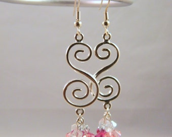 Swirly Silver and Pink Earrings with Swarovski Crystals