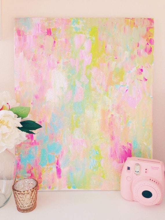 Wall Art Pastel Colours : Confetti abstract painting