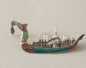 Sterling Silver Chinese Boat Brooch