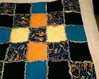 Neon Monster Fish Rag Quilt