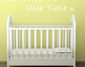 Kids Wall Decal Good Night Sleep Tight Bedroom Wall Sticker Nursery Children