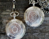 Silver Victorian Quartz Pocket Watch with Vest Chain New Imperfect Second Destash Ships from Canada