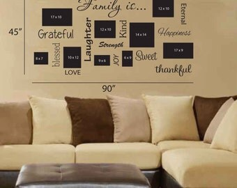Family is... Wall Decal Personalized Name - Children Art - Saying Wall Decal - Vinyl Wall Decals