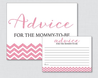 Printable Pink Glitter Baby Shower Advice for Mommy to Be Cards and Sign - Pink Glitter Mommy-To-Be or New Parents - Glitter Chevron
