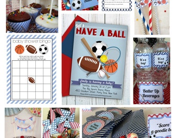 Sports Baby Shower Printable Package & Shower Invitation, INSTANT DOWNLOAD, boy baby shower, Retro Sports Party, Football Baseball Soccer