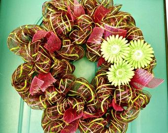 Autumn wreath,Fall wreath, Deco mesh wreath, wreath, door wreaths, mesh wreaths home décor Front door wreaths, Brown and maroon wreath