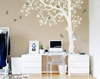 Large Tree vinyl wall decal, Wall decoration tree sticker with birds -NT023