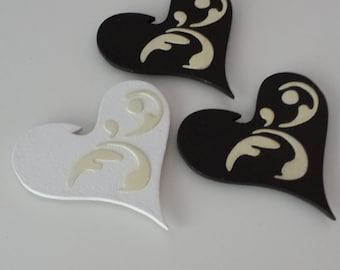 Set of 3 Handmade Heart Shaped Decoupage Fridge Magnets