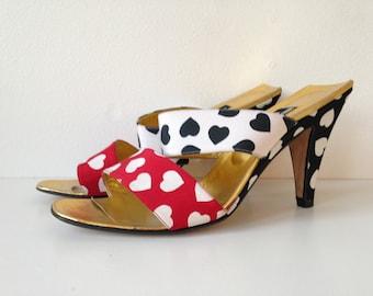 Vintage Heels // Red, Black, & White Hearts // Gold Lined // Andrea Pfister for I. Magnin