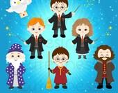 Harry Potter Digital Clipart, Wizard Clipart, Magic Clipart