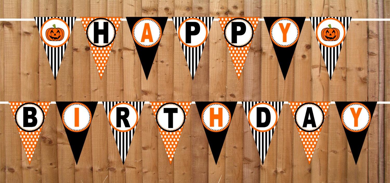 halloween pumpkin happy birthday banner instant download