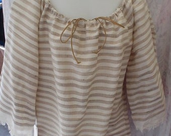Ivory & Taupe Stripe Raw Silk and Linen 3/4 Sleeve Pirate Peasant Blouse, Size XS/S