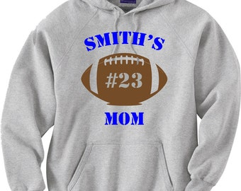 Personalized Football Mom Sweatshirt in Gray or White