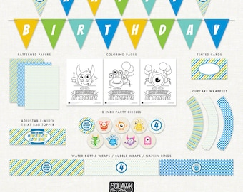 Monster Birthday Party Decorations – Blue – Printable Party Kit by Squawk Box Studio
