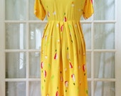 Vintage yellow sun dress painted flowers size medium large