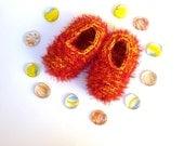 4_Knitted Slippers / Knitted Socks / Girls slippers/ Girls socks / Red slippers / Red socks / Children's Size US 5-7 / Handmade /Comfortable