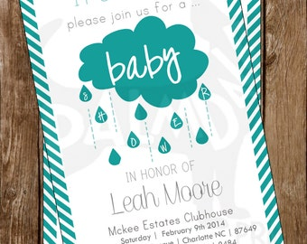 Baby Boy Baby Shower Invitation Printable - Rain Cloud / Turquoise / Chevron [ Colors Can Be Customized ]